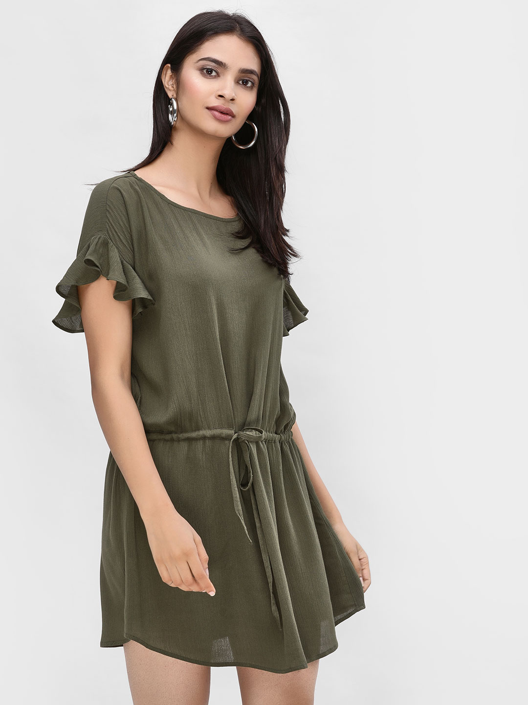 KOOVS Khaki Ruffled Sleeves Shift Dress 1