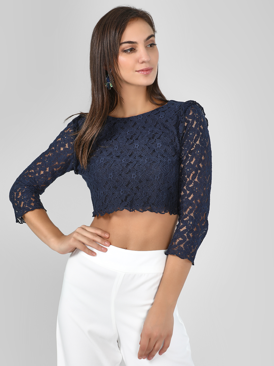 KOOVS Navy Scalloped Lace Crop Top 1