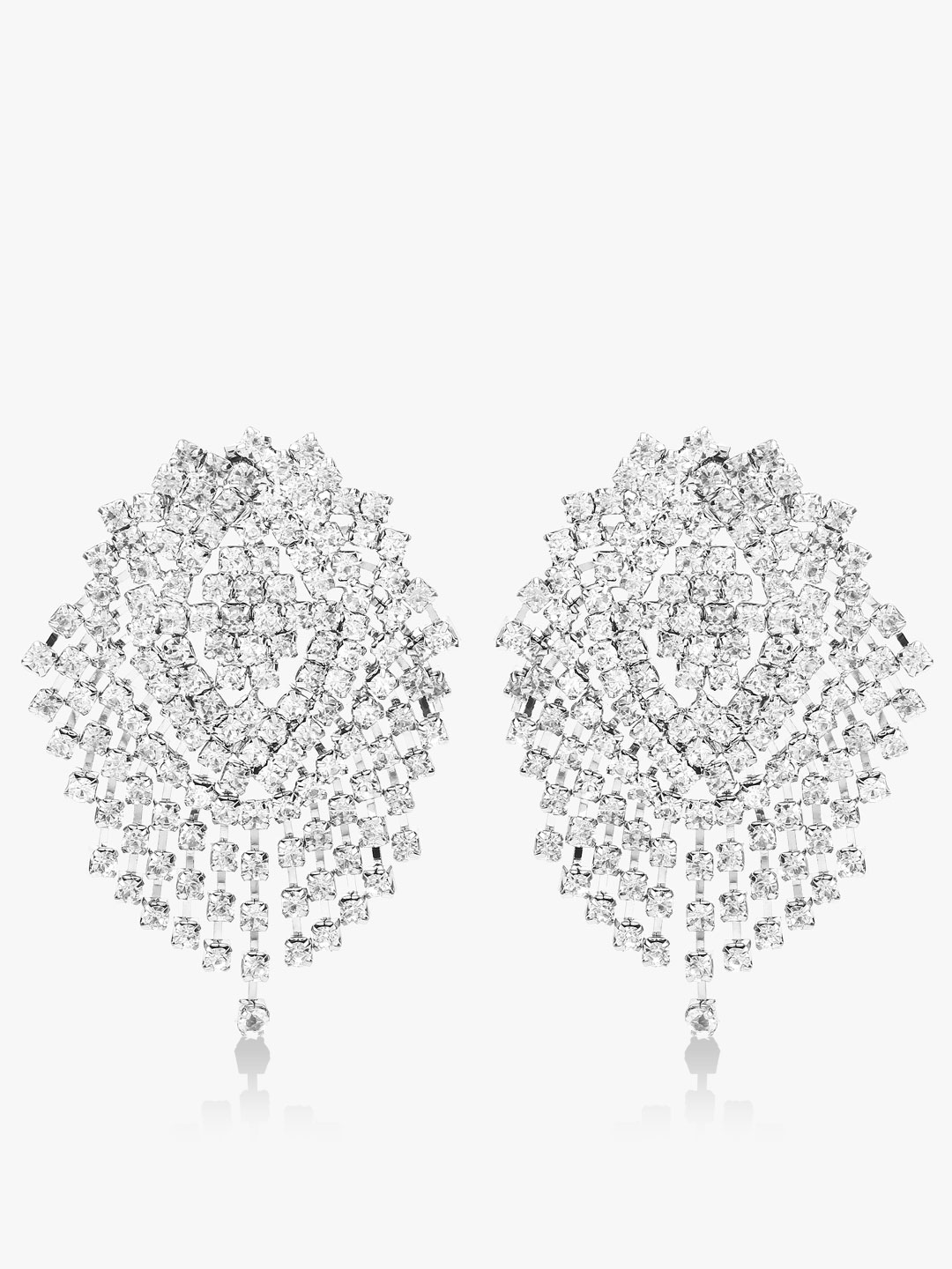 Style Fiesta Silver Cluster Crystal Earrings 1