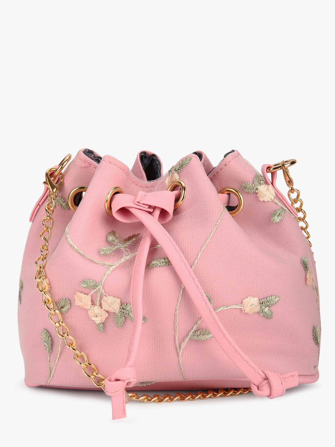 Style Fiesta Pink Floral Embroidered Bucket Sling Bag 1