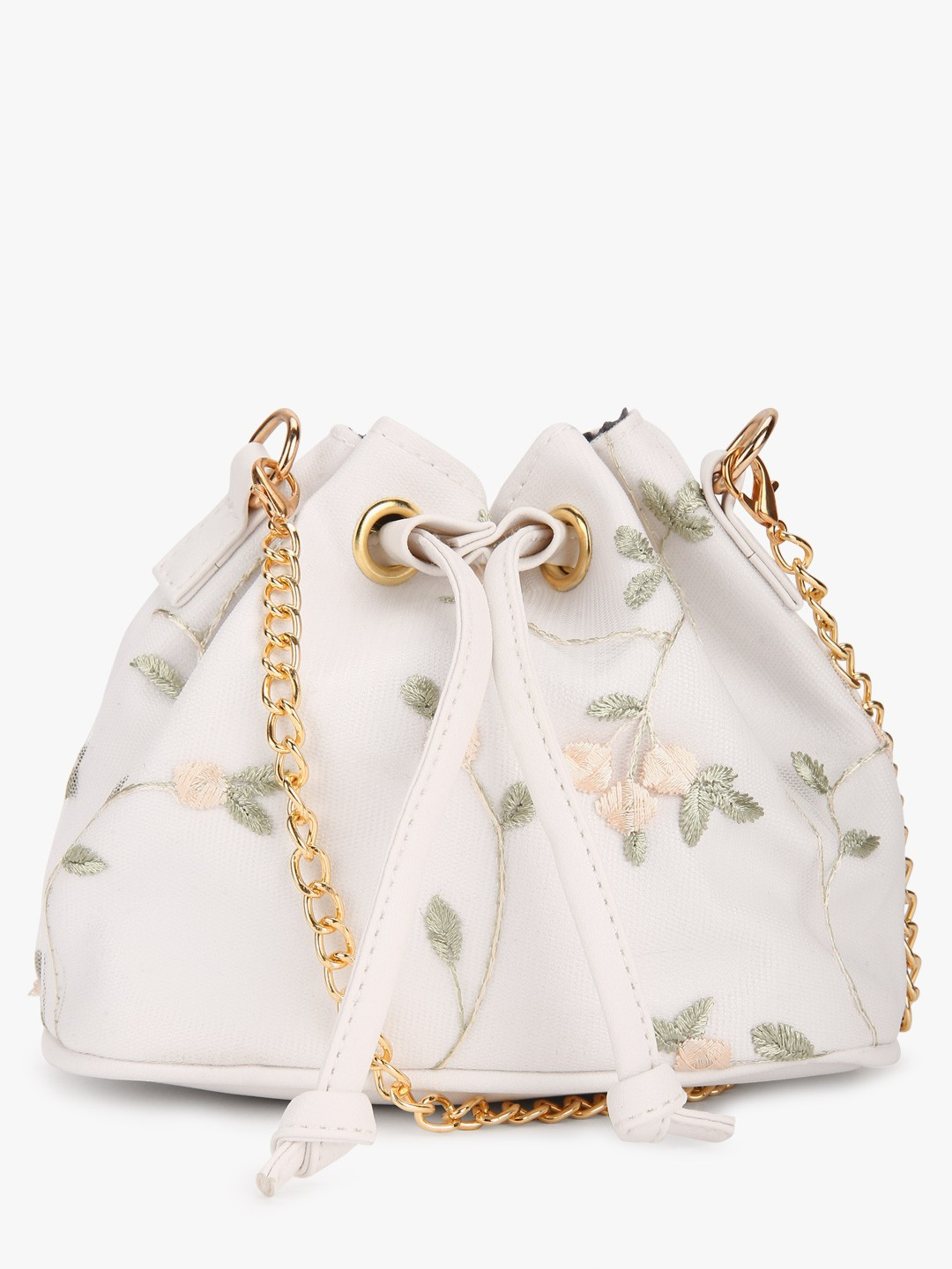 Style Fiesta White Floral Embroidered Bucket Sling Bag 1