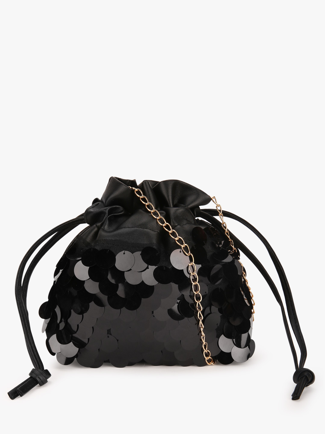 Style Fiesta Black Sequin Embellished Bucket Sling Bag 1