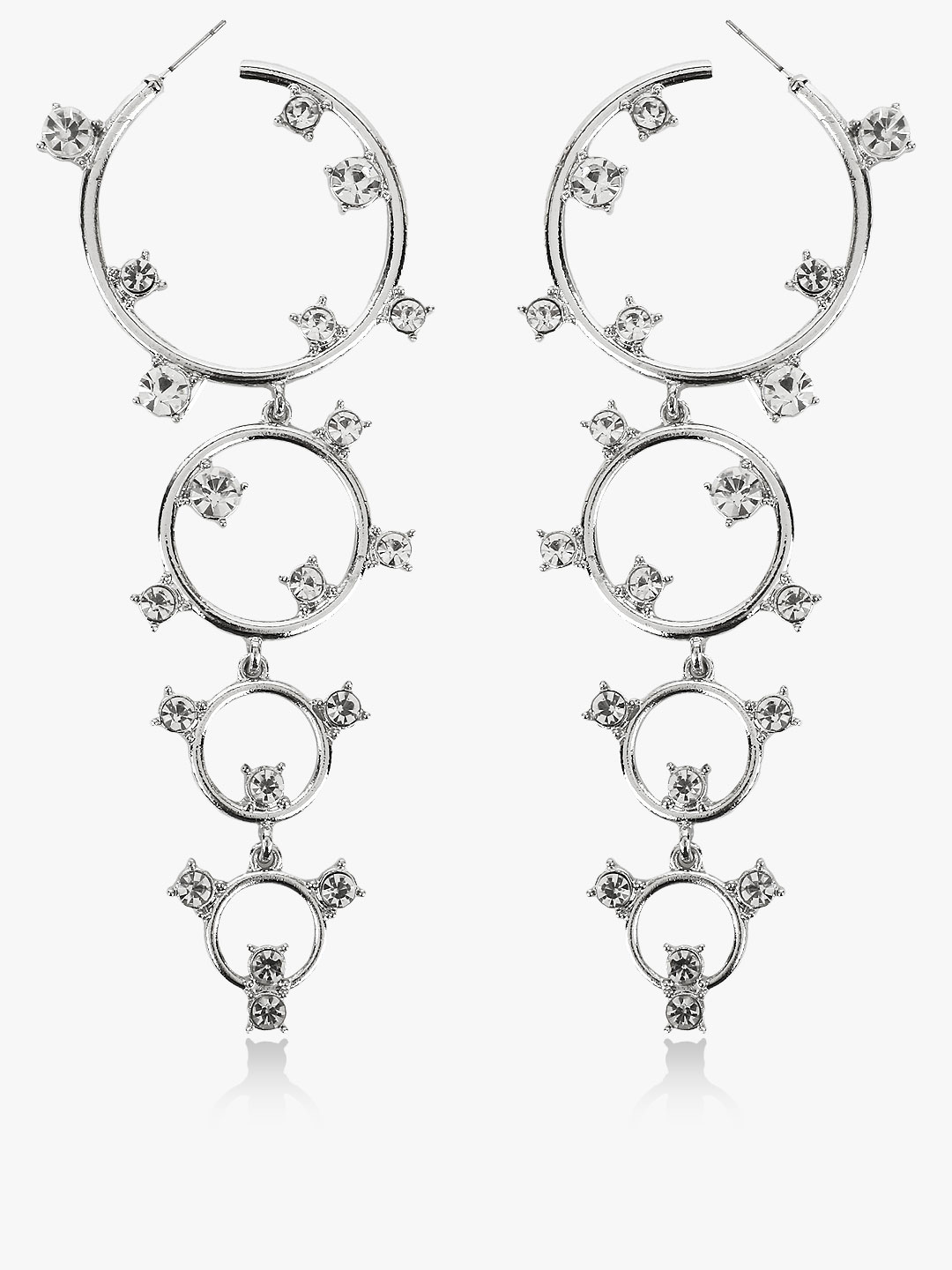 Style Fiesta Silver Studded Diamante Embellished Hoops 1