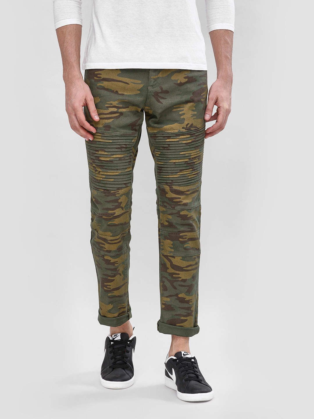 Blue Saint Olive Camo Biker Panel Slim Jeans 1