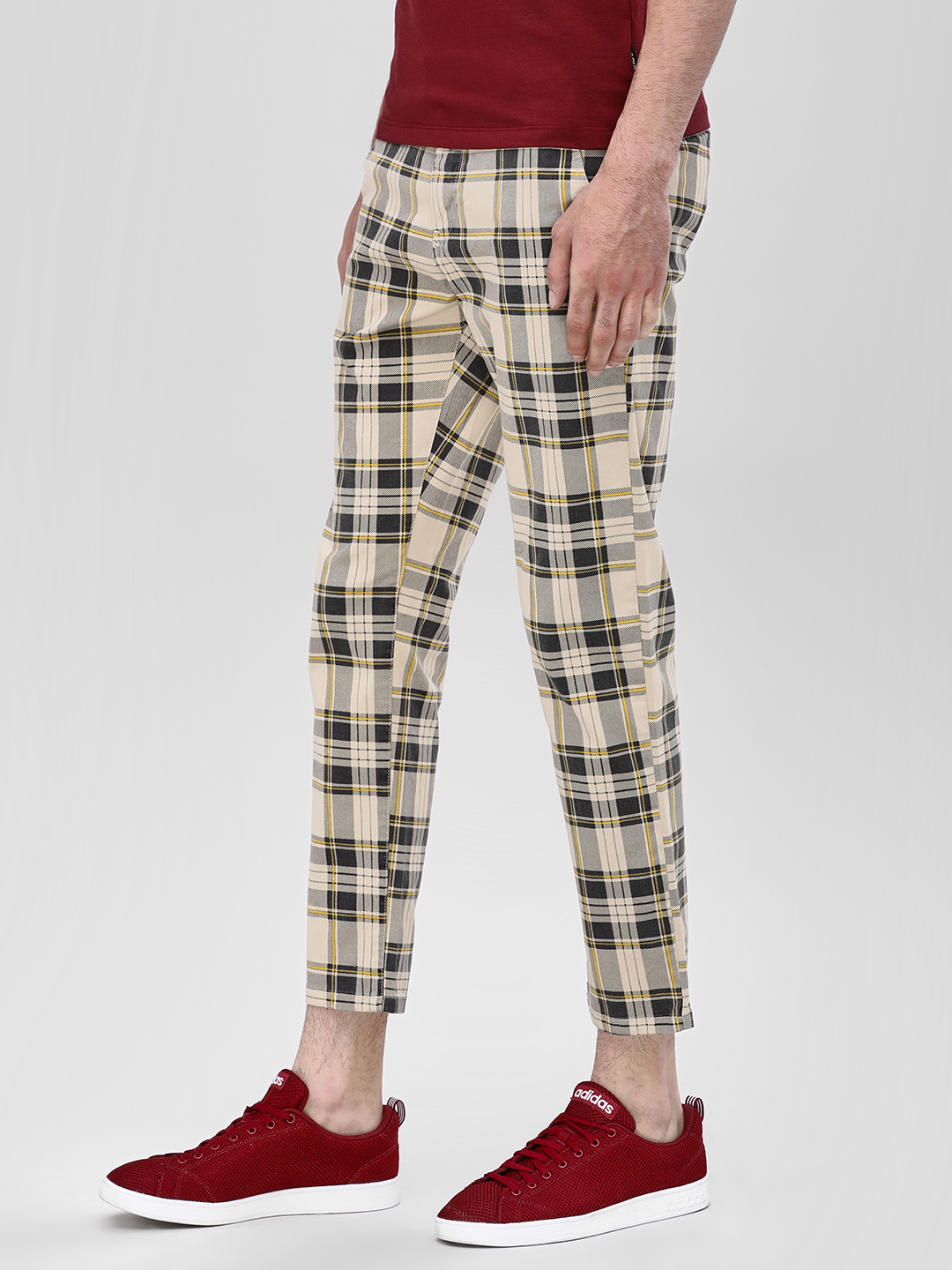 Blue Saint Multi Checkered Slim Cropped Trousers 1
