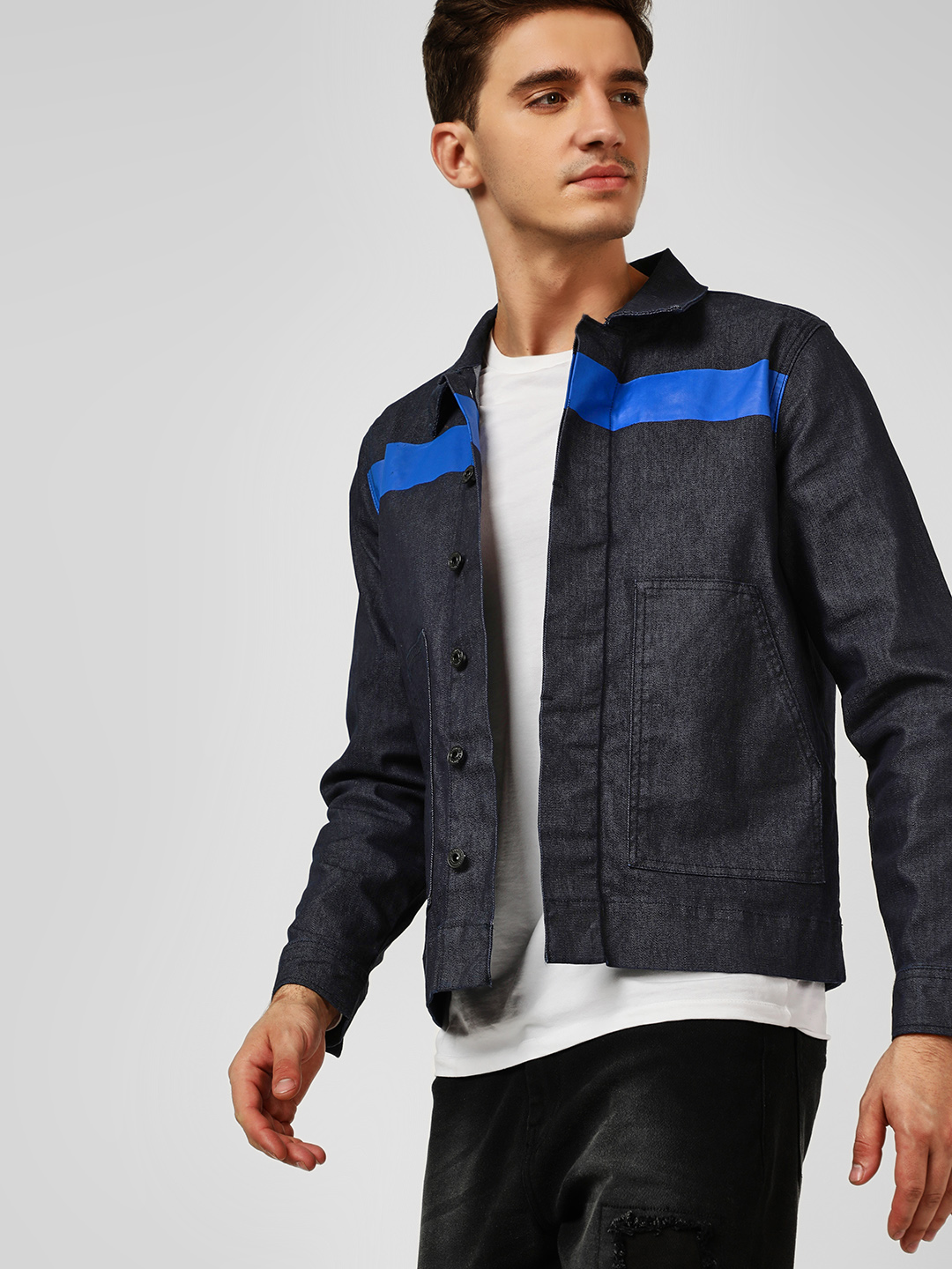 Blue Saint Blue Contrast Panel Denim Jacket 1