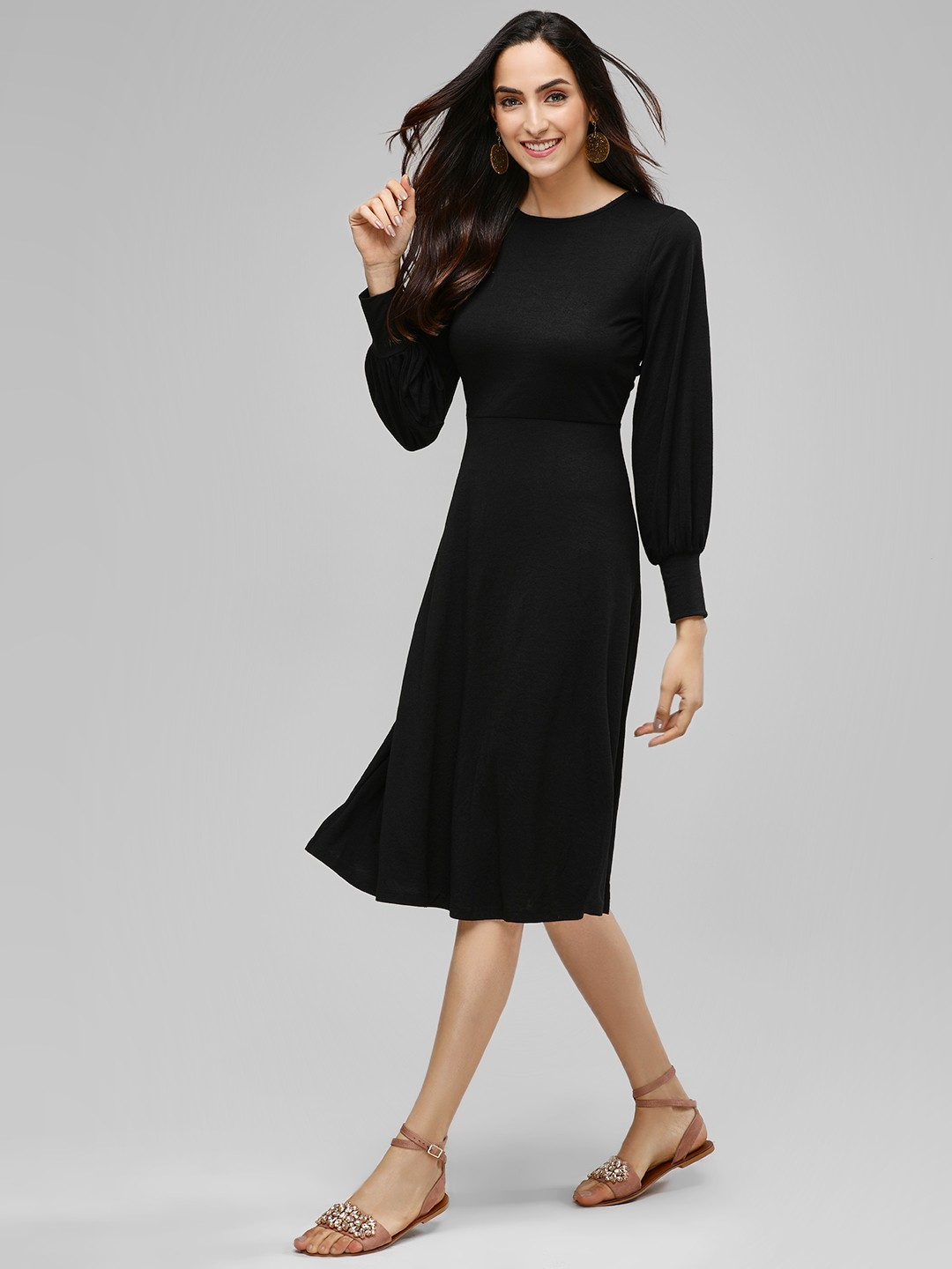 Femella Black Midi Dress With Twisted Back 1