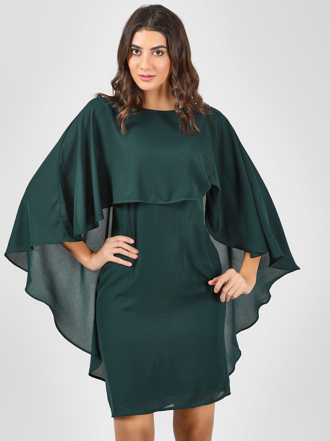 Femella Green Cape Overlap Shift Dress 1