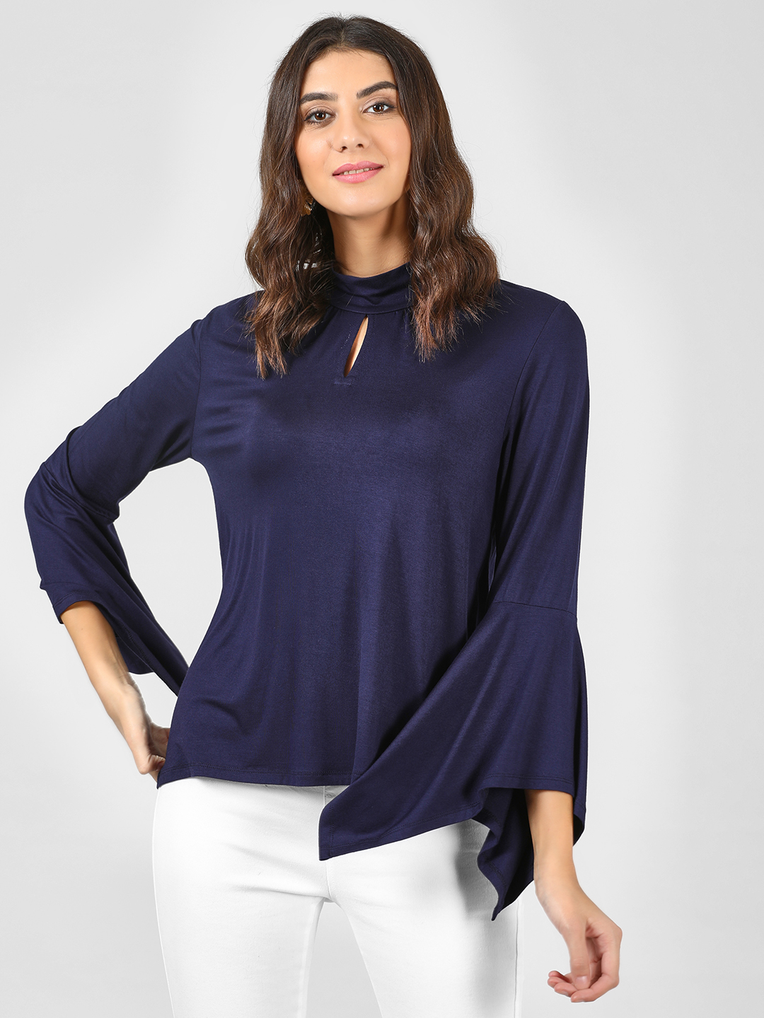 Femella Navy Choker Neck Top 1