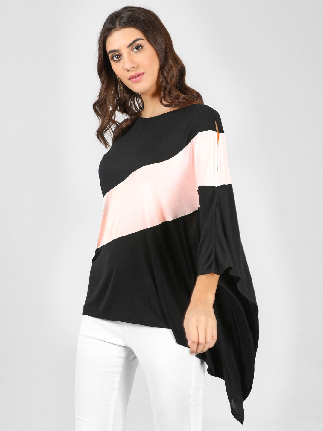 Femella Black/Pink Colour Block Over Sized Top 1