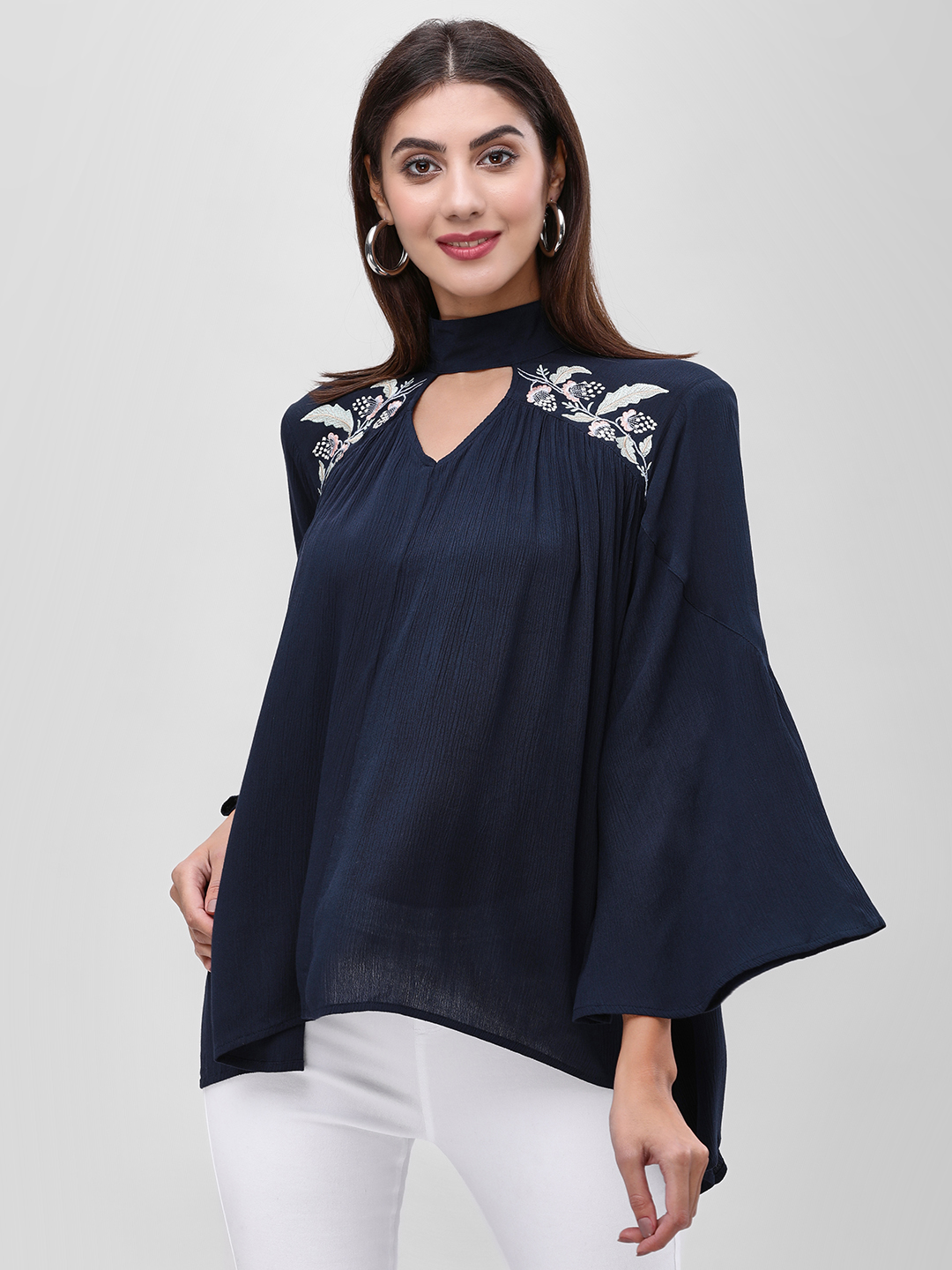 Femella Navy Embroidered Choker Neck Flared Top 1
