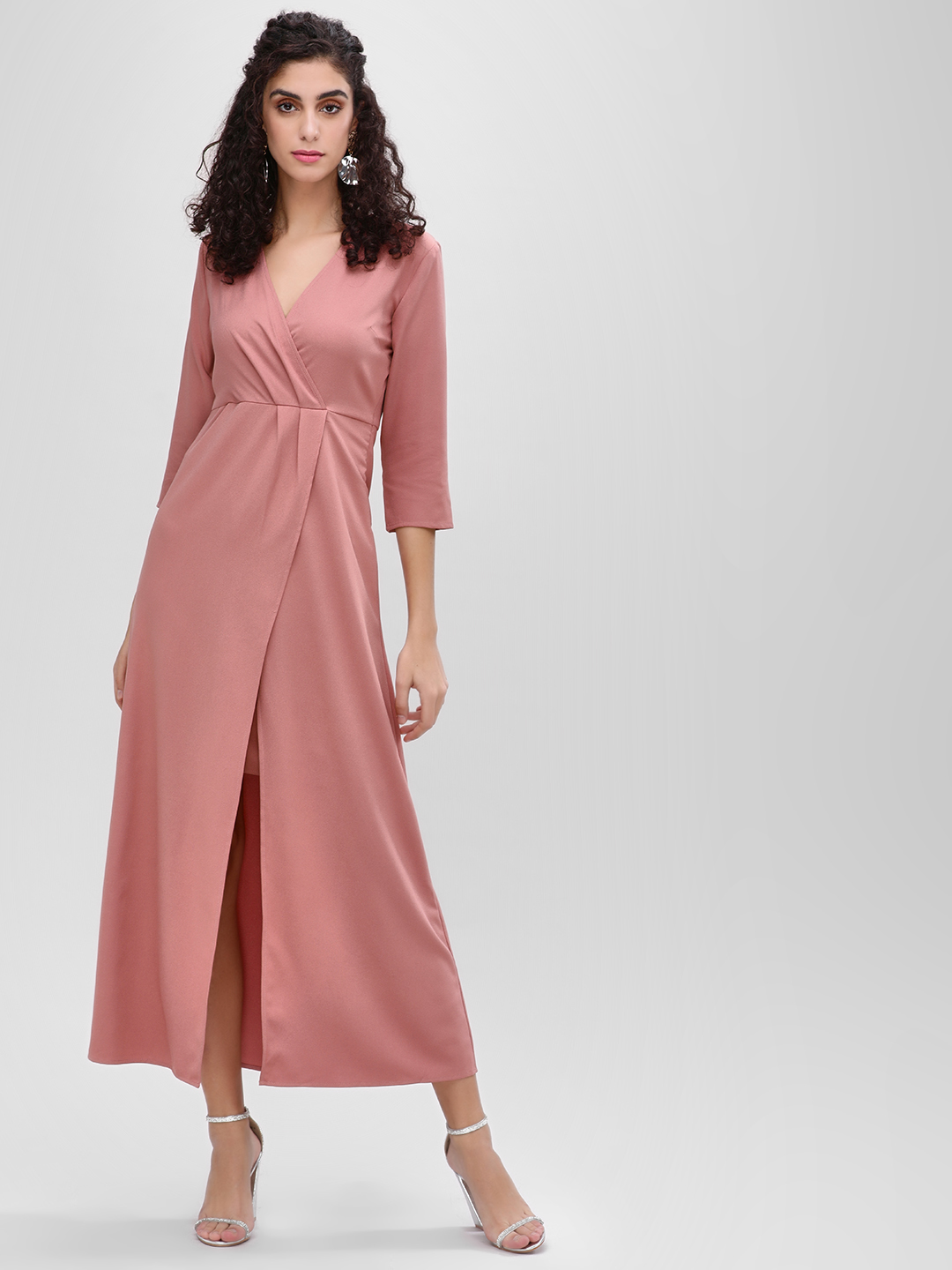 Femella Dusty Pink V Neck Overlay Maxi Dress 1