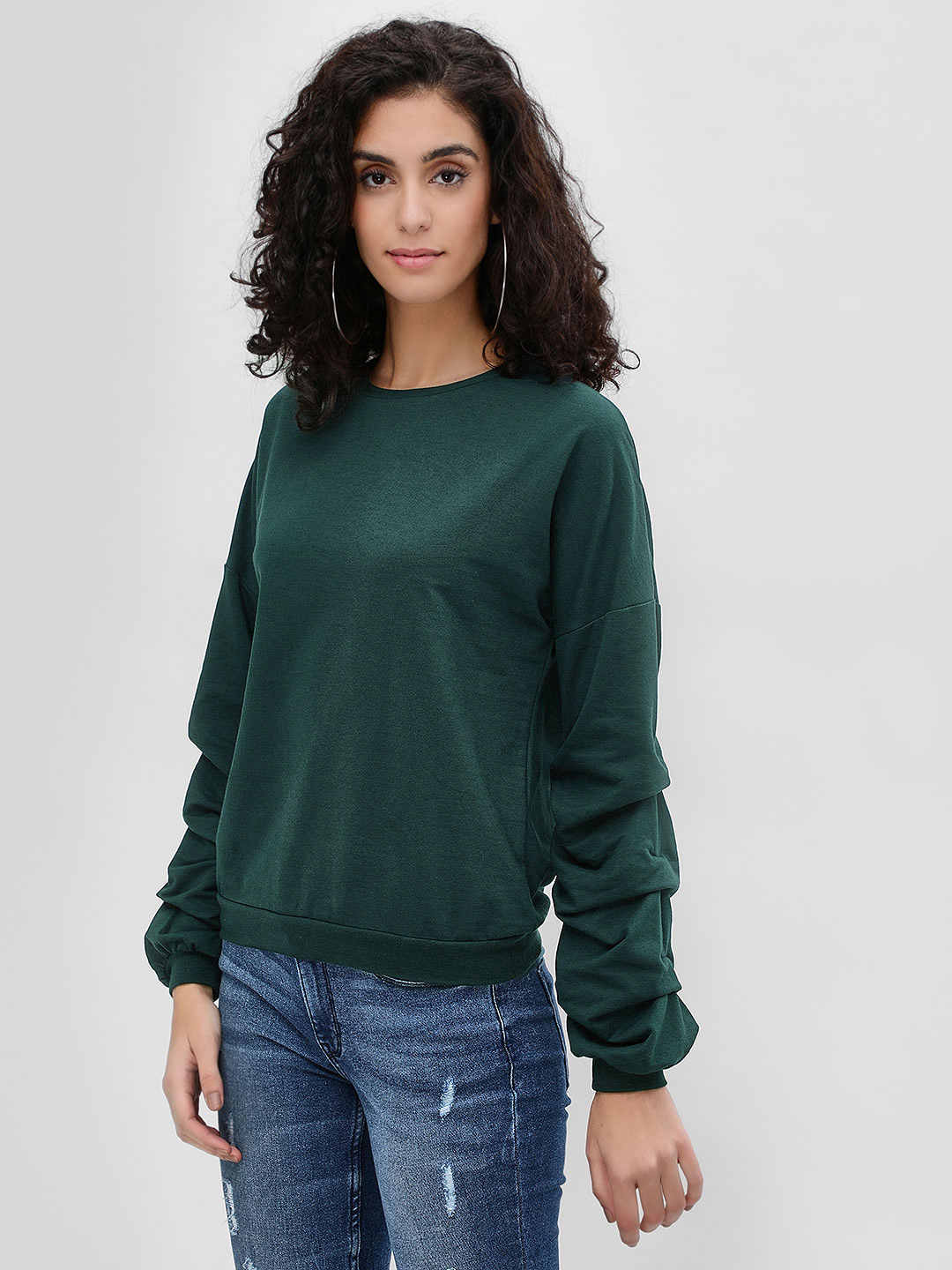 Femella Green Basic Ruched Sleeve Sweatshirt 1