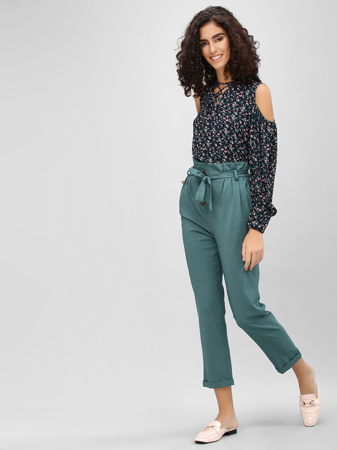 Cover Story Teal Paperbag Waist Cropped Trousers 1
