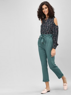 Cover Story Paperbag Waist Cropped Trousers