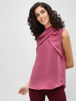 Cover Story Crossover Neck Sleeveless Top