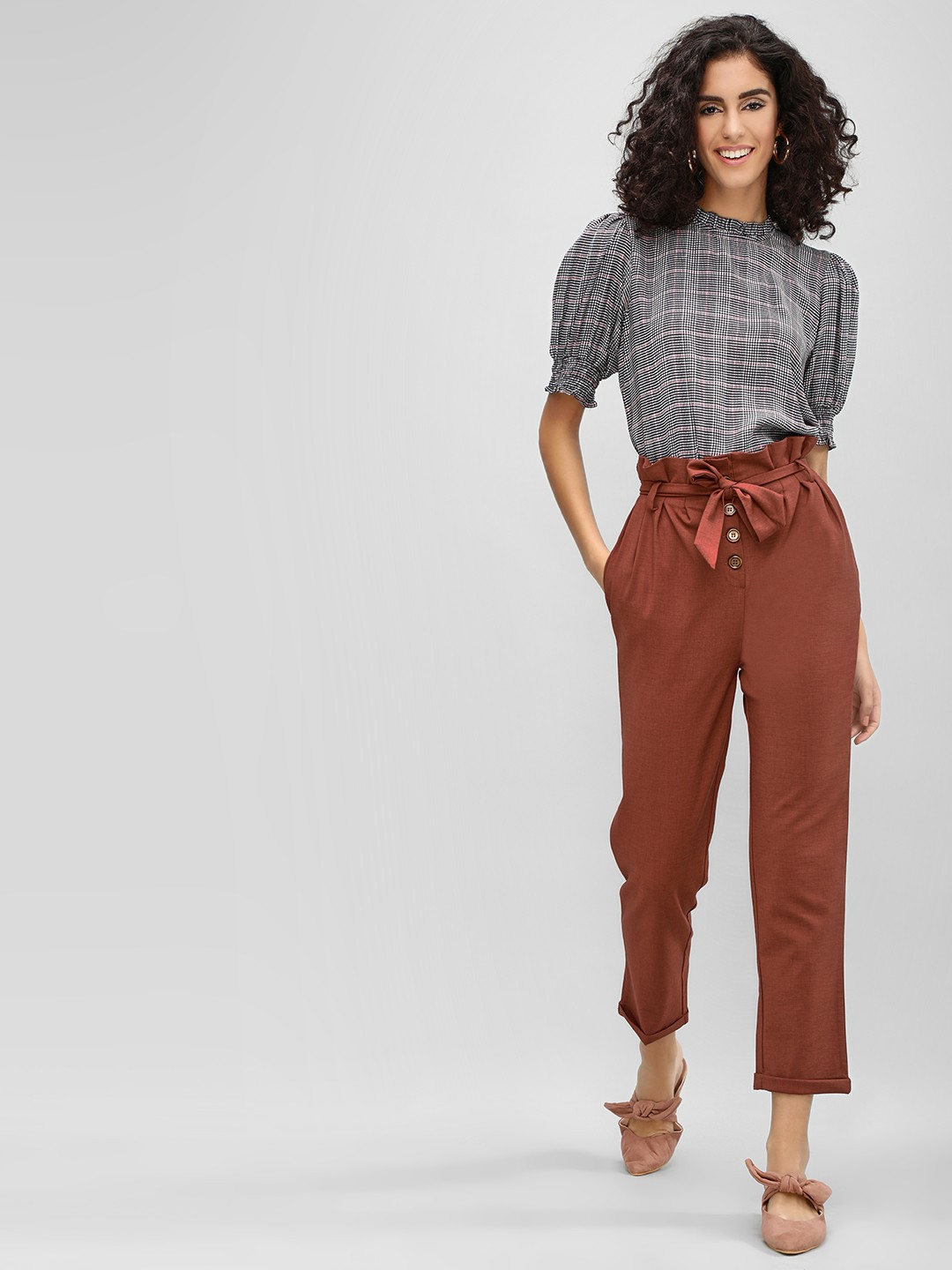 Cover Story Wine Paper Bag Waist Trousers 1