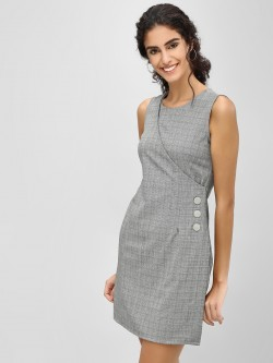Cover Story Shift Dress With Button Detail