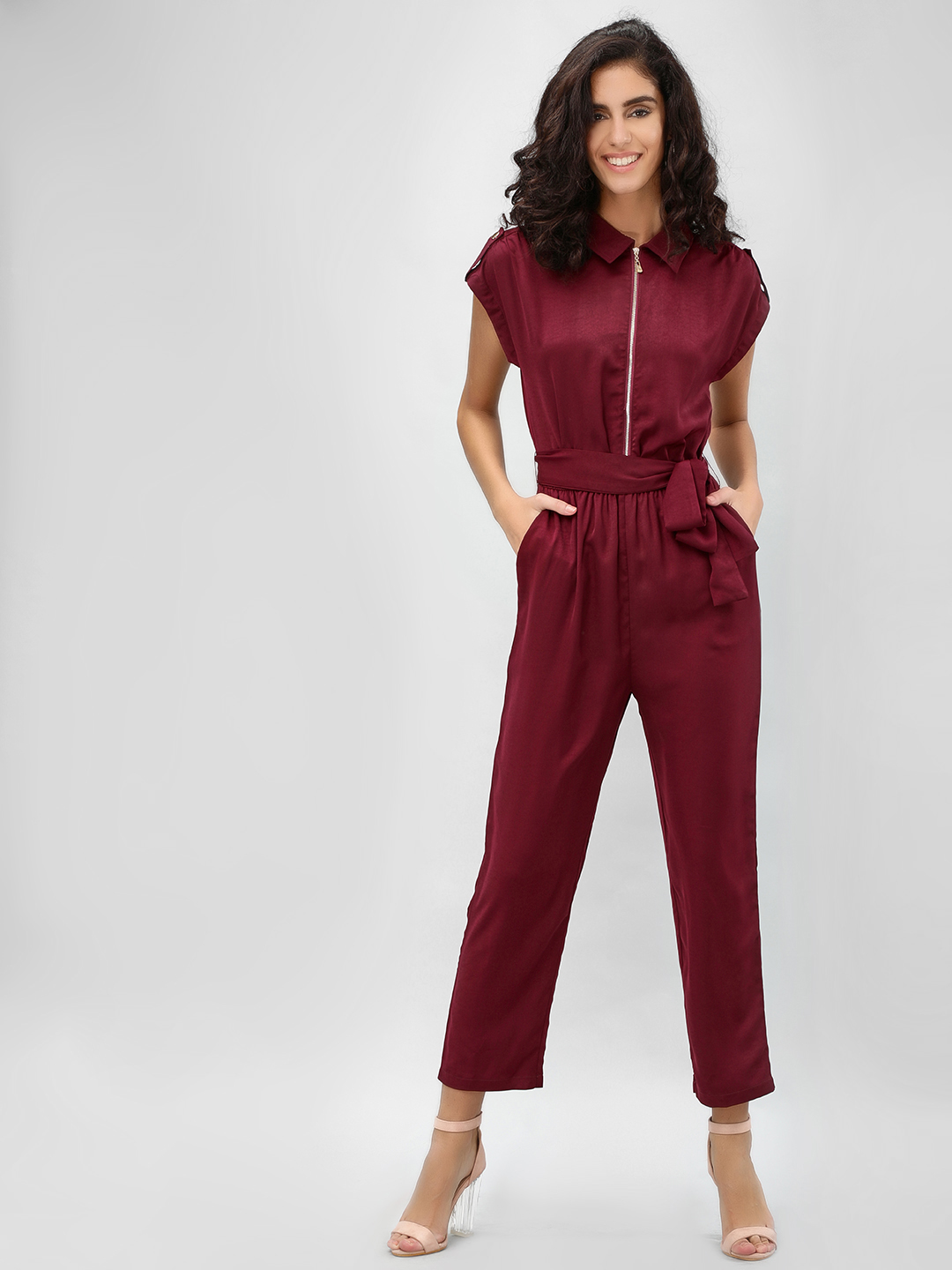 Cover Story Wine Cape Sleeve Belted Jumpsuit 1