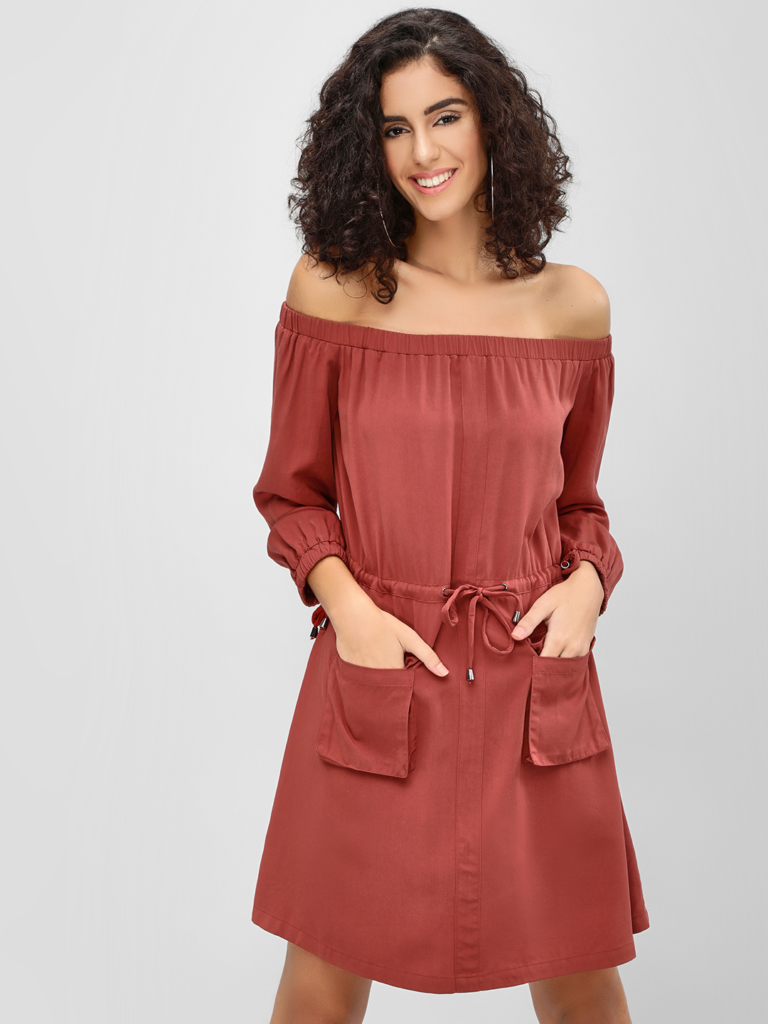 Cover Story Rust Off Shoulder Utility Dress 1