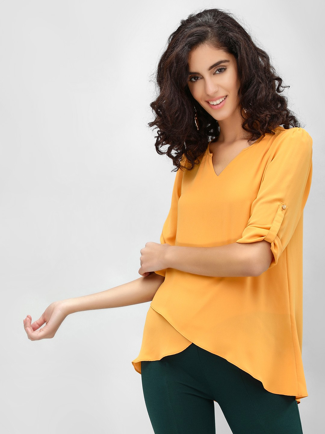 Cover Story Gold Overlap Front Formal Blouse 1