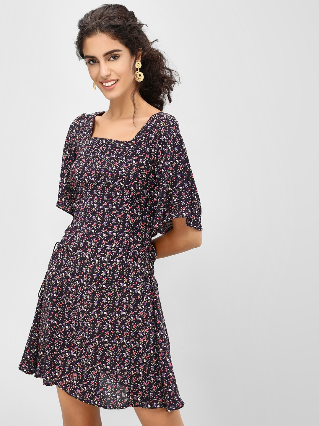 Cover Story Navy Ditsy Floral Skater Dress 1