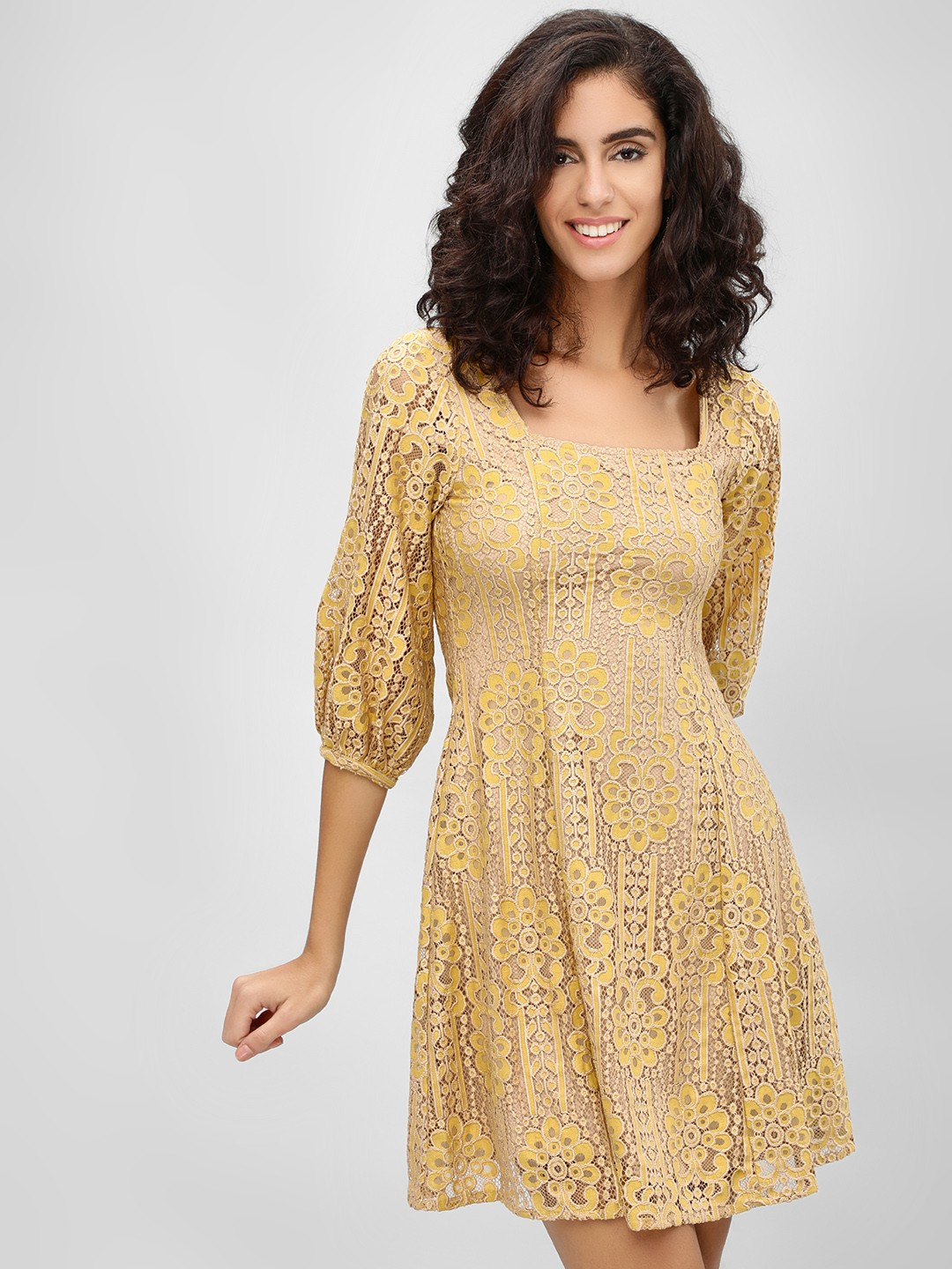 Cover Story Mustard Square Neck Lace Skater Dress 1
