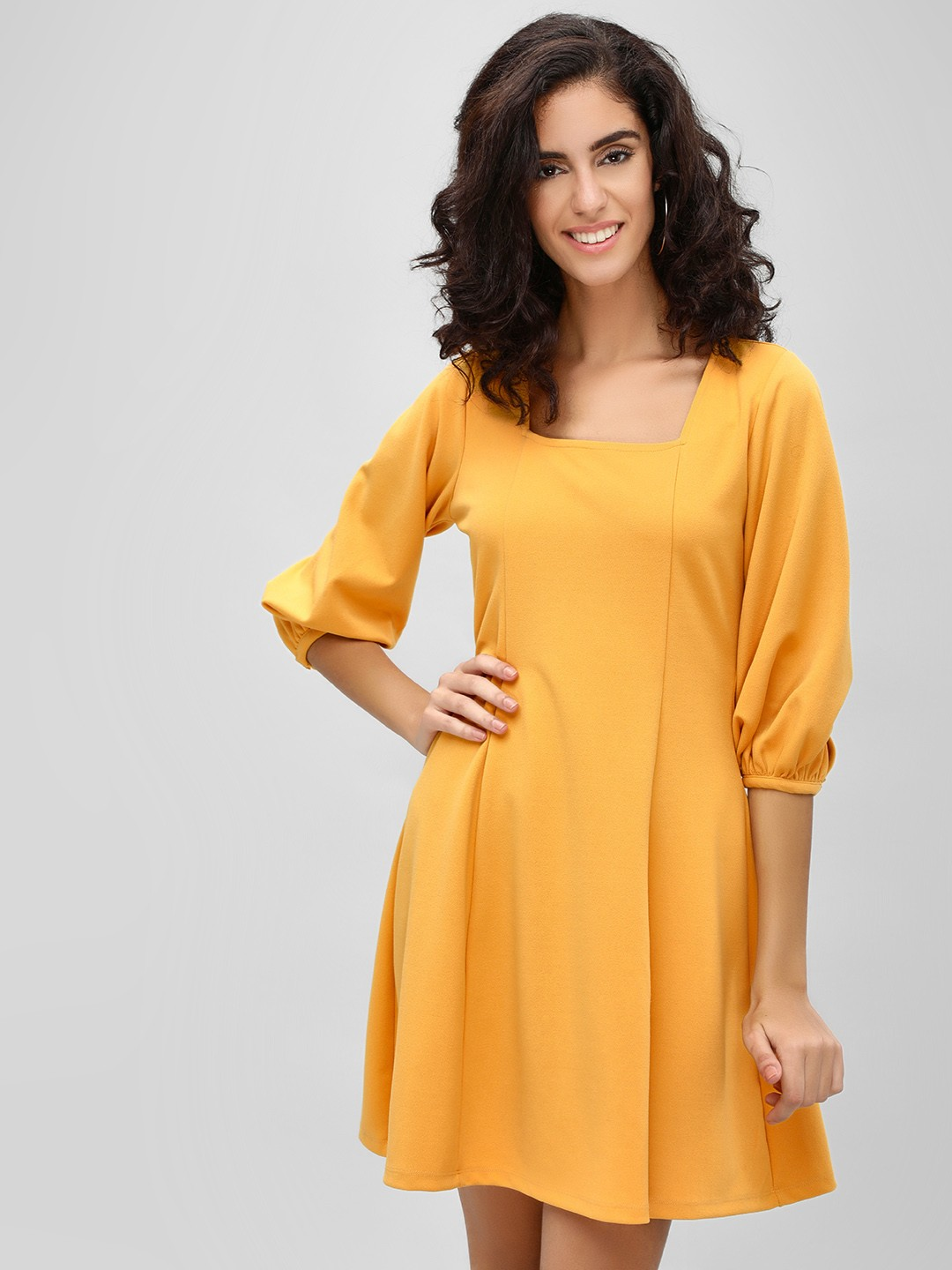 Cover Story Mustard Square Neck Skater Dress 1