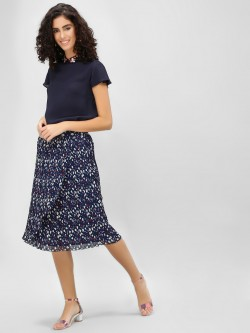 Cover Story Ditsy Floral Pleated Midi Skirt