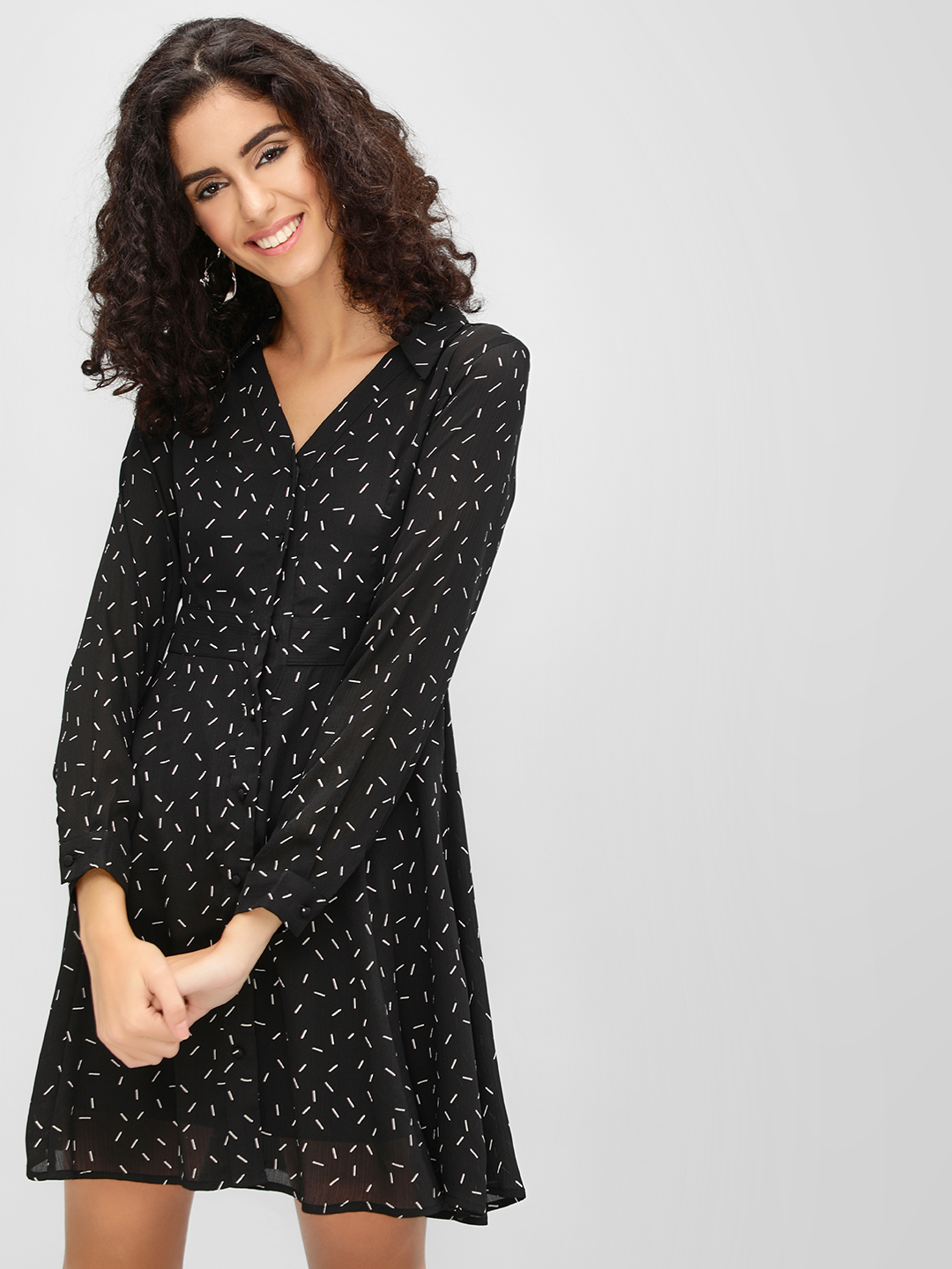 Cover Story Black All Over Print Shirt Dress 1