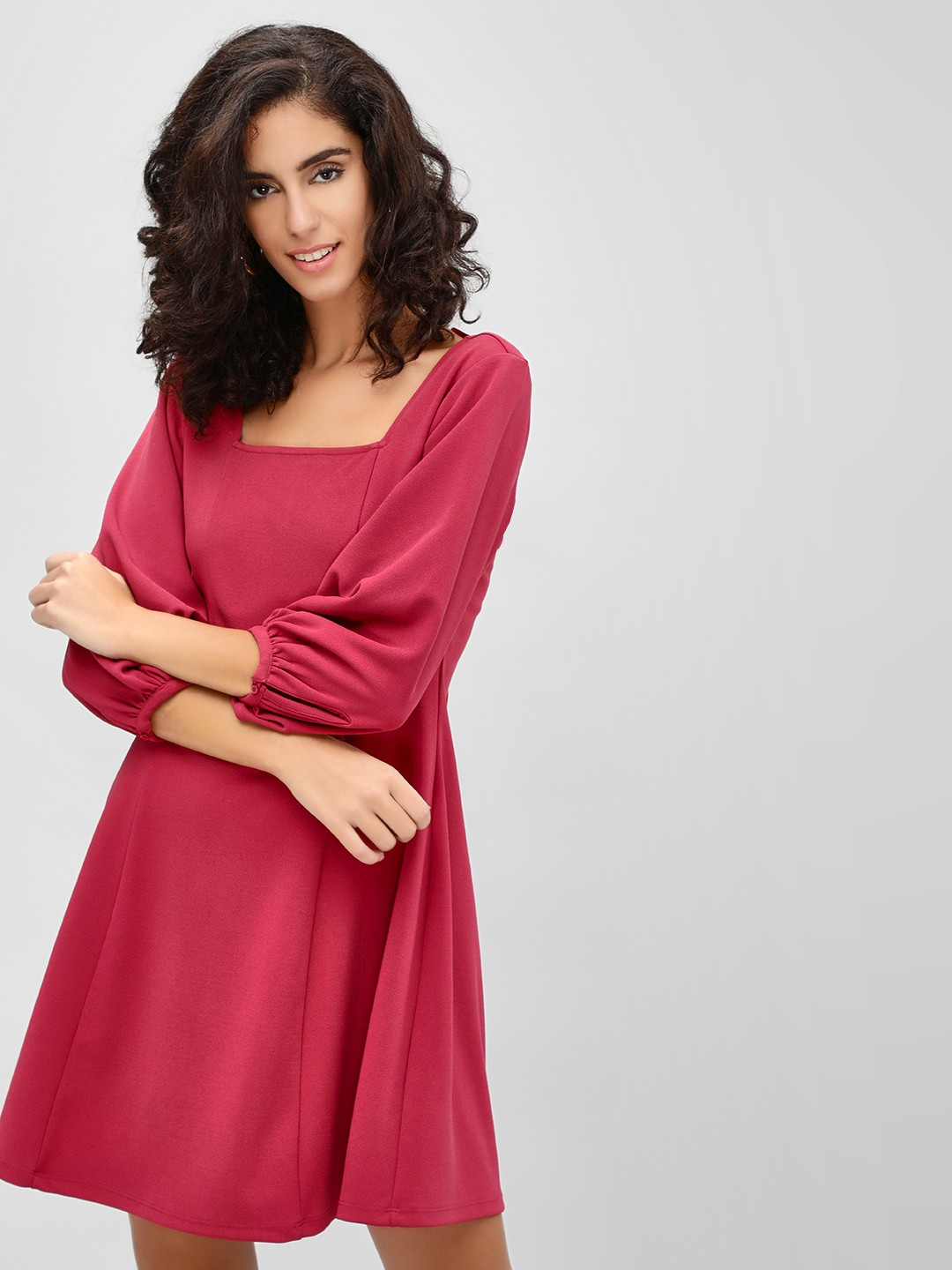 Cover Story Wine Square Neck Skater Dress 1