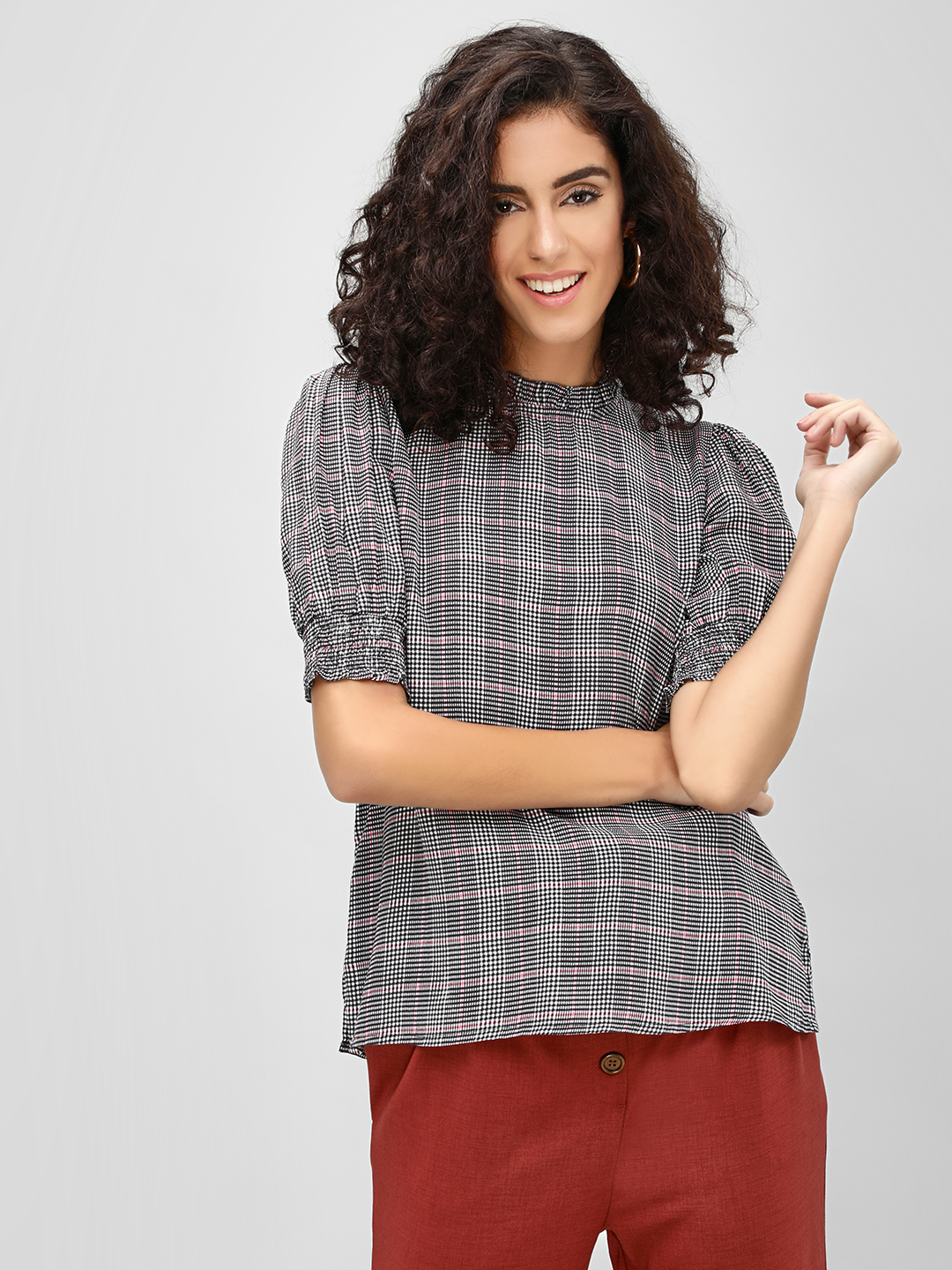 Cover Story Grey Plaid Short Sleeve Top 1