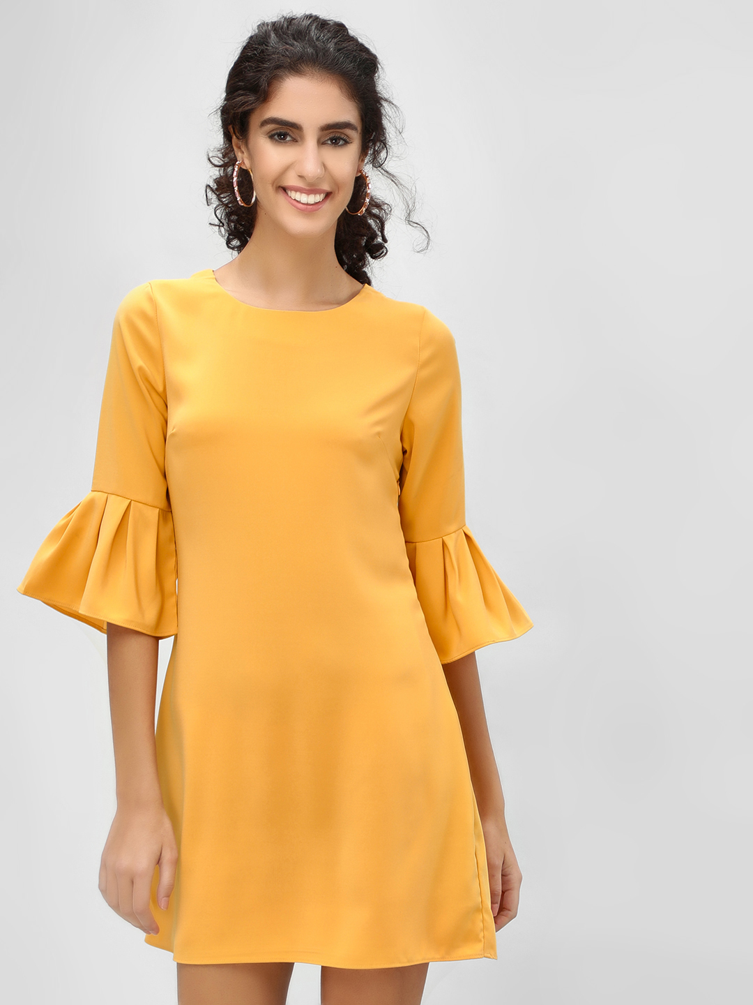 Cover Story Gold Bell Sleeve Shift Dress 1