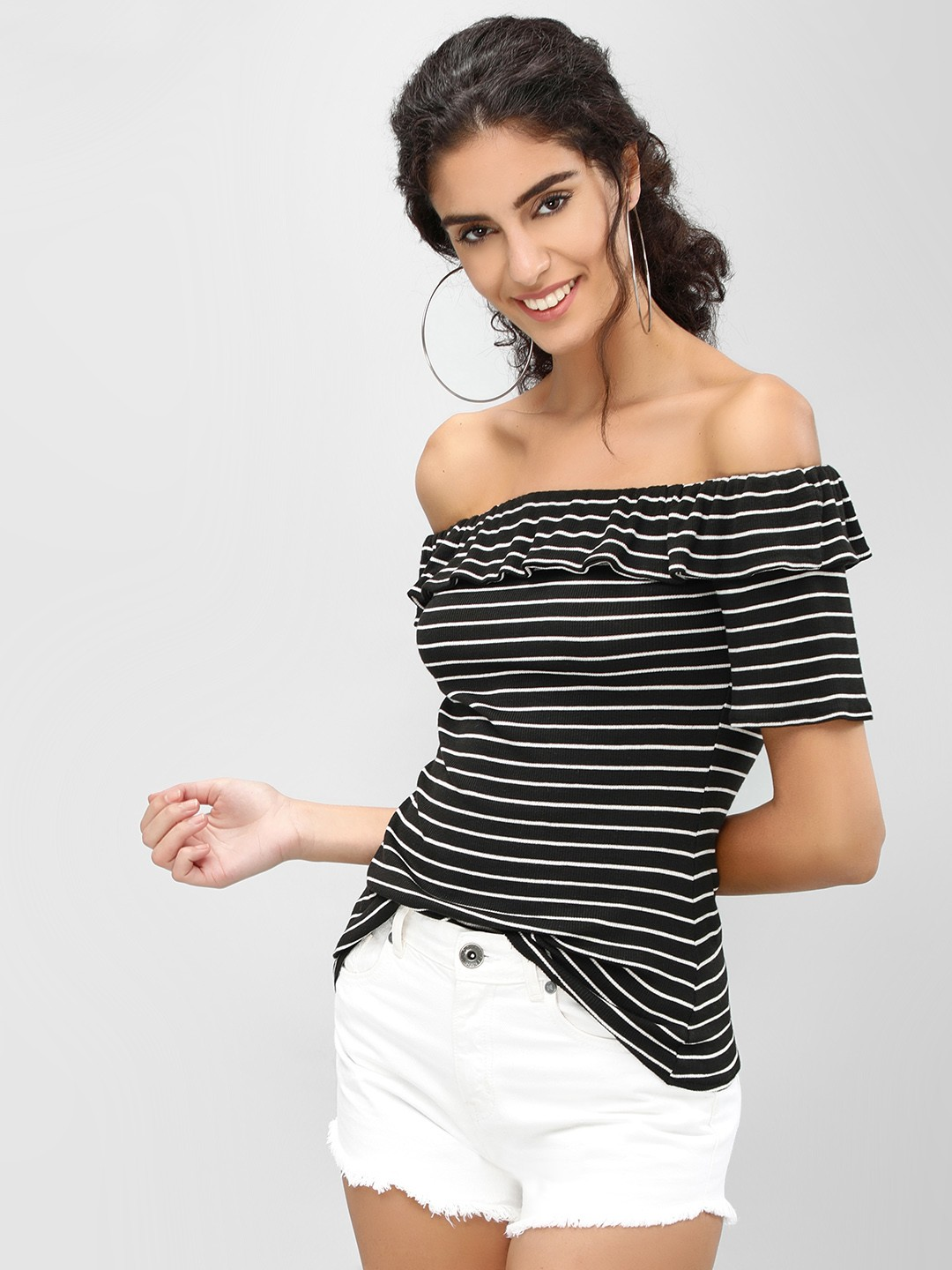 Cover Story BLACK & WHITE Striped Overlay Bardot Top 1