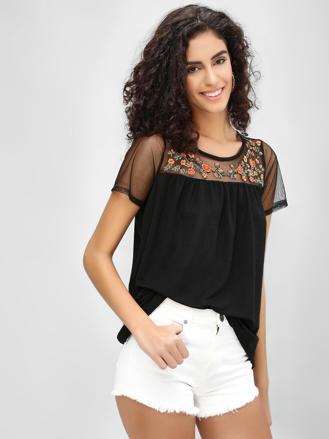 Cover Story Black Delicate Embroidered Top 1