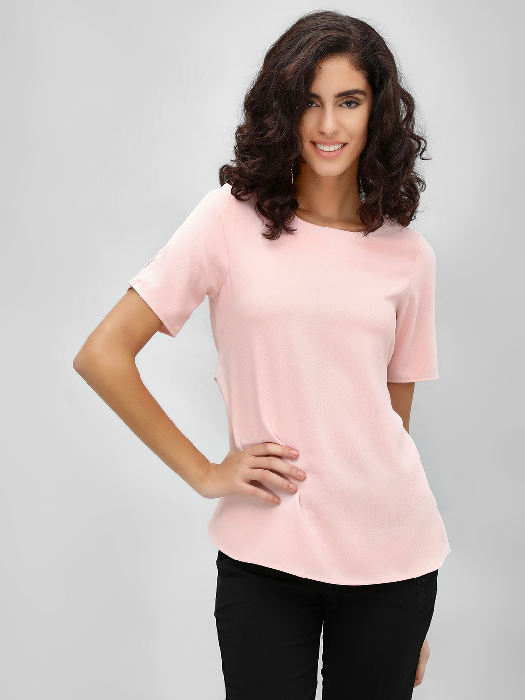 Cover Story Blush pink Tie-Knot Back Formal Blouse 1