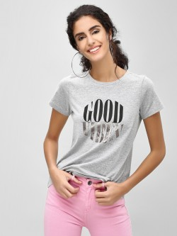 Cover Story Good Vibes Slogan Printed T-Shirt