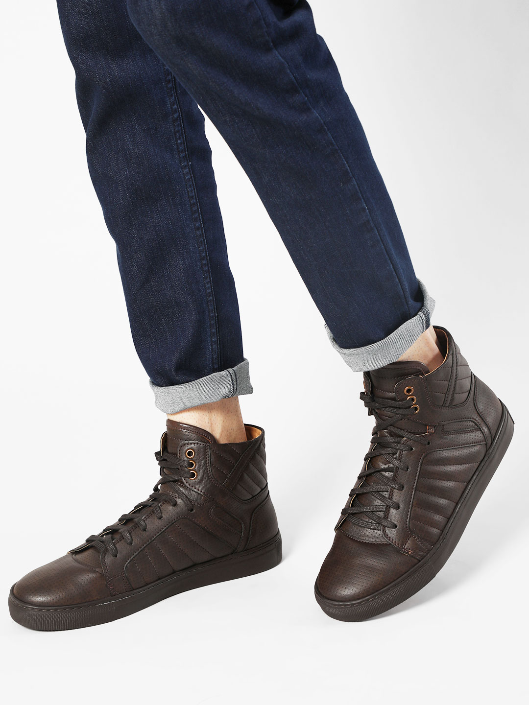 Rodolfo Darrell Brown Quilted High Top Sneakers 1