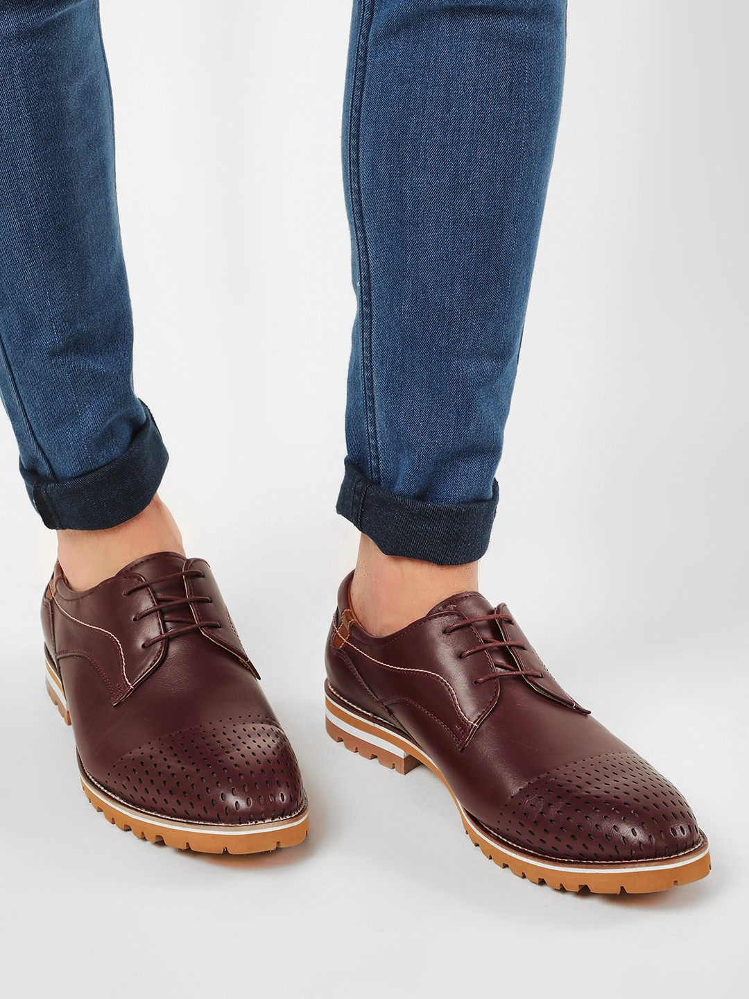 Rodolfo Darrell Brown Cleated Sole Derby Shoes 1