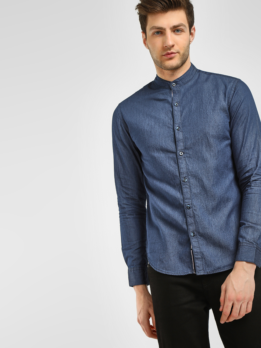 Blue Saint Blue Grandad Slim Fit Shirt 1