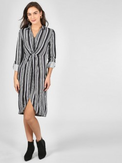 KOOVS Twisted Front Striped Shirt Dress