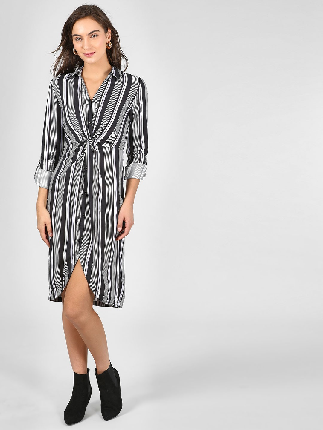 KOOVS Multi Twisted Front Striped Shirt Dress 1