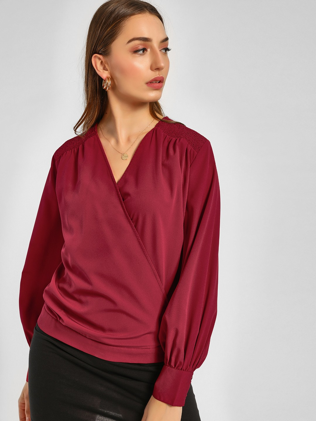 Femella Red Smocked Wrap Top 1
