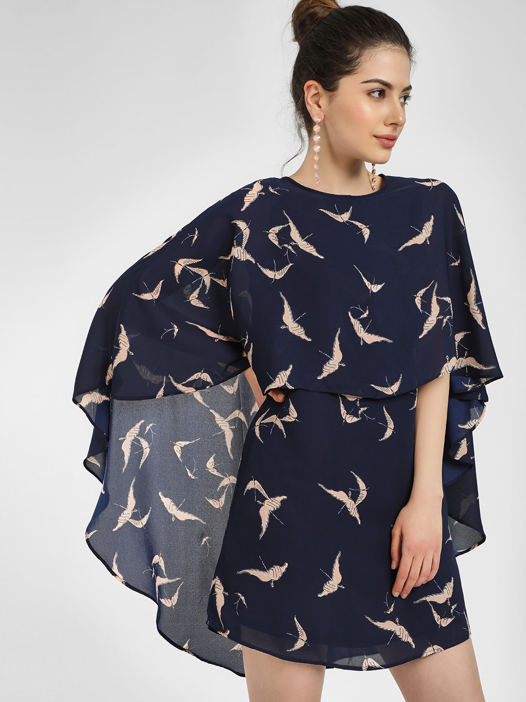Femella Navy Bird Print Cape Overlap Dress 1