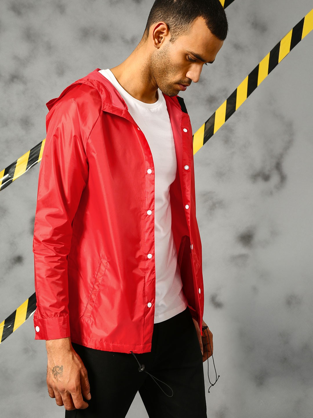 KUNAL RAWAL X KOOVS Red Hooded Over Shirt With Snap Button 1