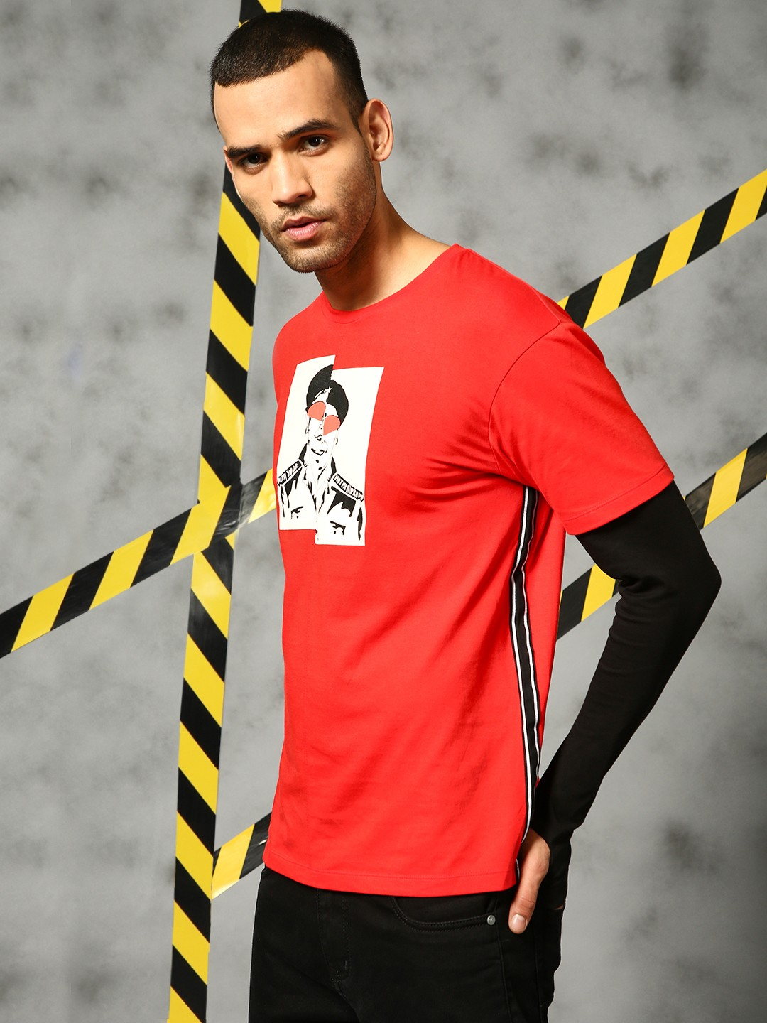 KUNAL RAWAL X KOOVS Red Placement Print Contrast Sleeve T-Shirt 1