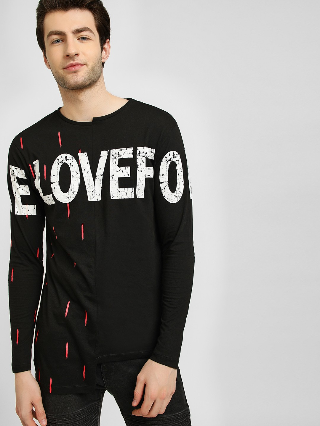 KUNAL RAWAL X KOOVS Black Half And Half Glitch Neck T-Shirt 1