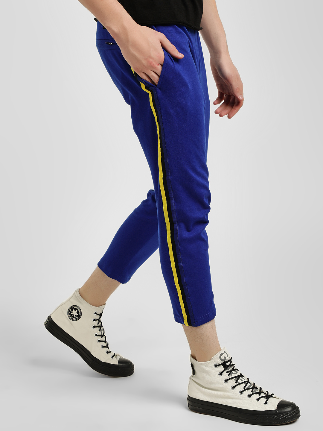 KOOVS Blue Contrast Side Tape Cropped Joggers 1