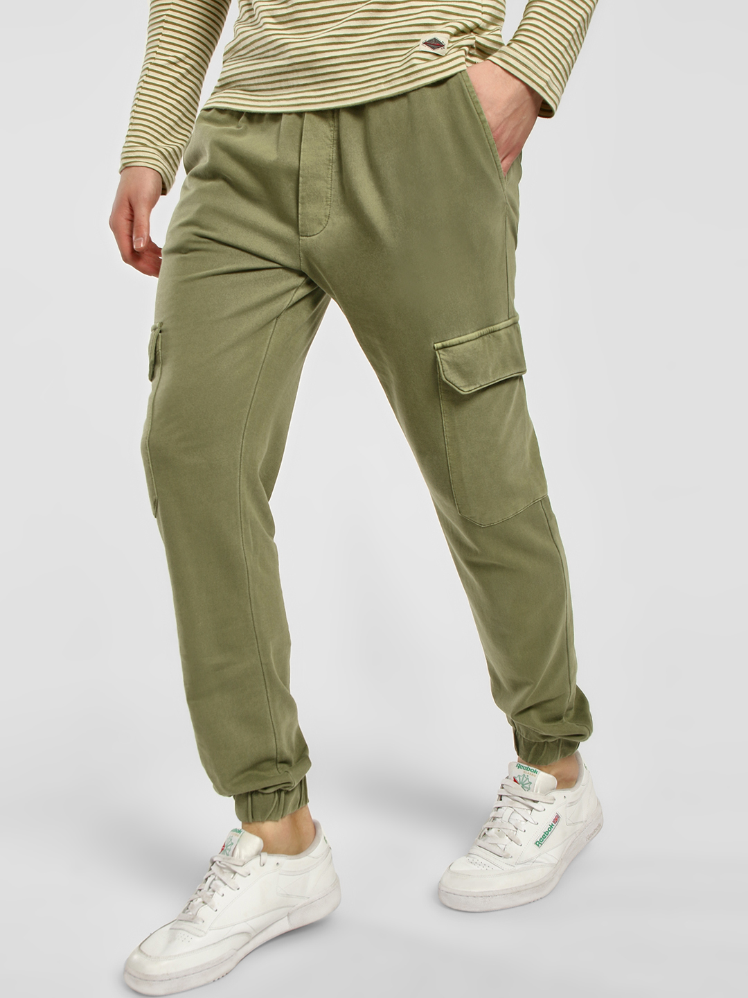 KOOVS Green Pigment Wash Drop Crotch Joggers 1