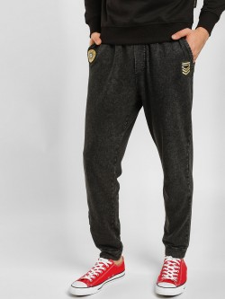 KOOVS Acid Wash Badge Applique Joggers